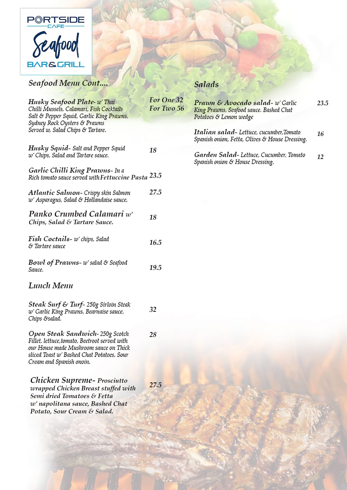Portside Cafe Menu Page 1